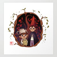 over the garden wall Art Prints featuring Over the garden wall by Collectif PinUp!