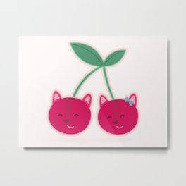Cherry kitties Metal Print