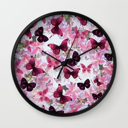 Rose pink lavender floral collage whimsical butterfly Wall Clock