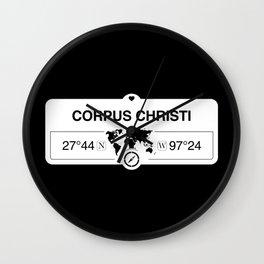 Corpus Christi Texas Map GPS Coordinates Artwork with Compass Wall Clock