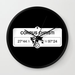 Corpus Christi Texas Map GPS Coordinates Artwork with Compass Wall Clock