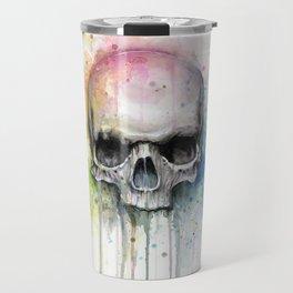 Skull Rainbow Watercolor Travel Mug
