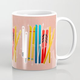 Colorful Ski Illustration and Pattern no 2 Coffee Mug