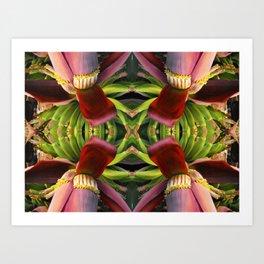 Banana Flower Pattern Art Print