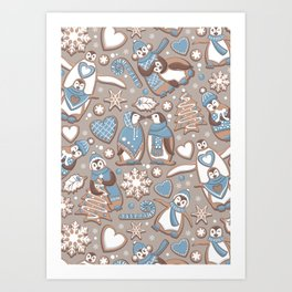 Penguin Christmas gingerbread biscuits V // brown silk background Art Print