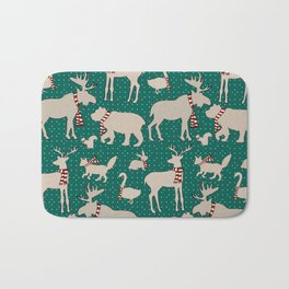 Woodland Animals in Scarves Bath Mat