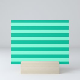 Teal and Aqua Mint Stripes Mini Art Print