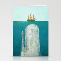 new york map Stationery Cards featuring The Whale  by Terry Fan