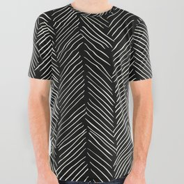 Herringbone Cream on Black All Over Graphic Tee
