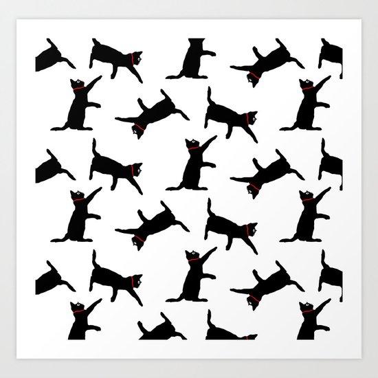 Cats-Black on White Art Print