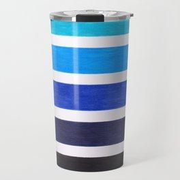 Colorful Blue Stripe Pattern Travel Mug