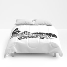 """""""Trout Dreams"""" Hand Drawn Double Exposure Fishing Camping Art Comforters"""
