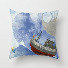 tossed to sea // jonah & the whale Throw Pillow
