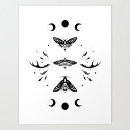 Death Head Moths Night - Black and White Art Print