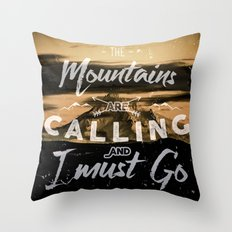 Mountains Trees Forest Fog - Mount Hood Rising - Text Prose tapestry - mountains are calling Throw Pillow