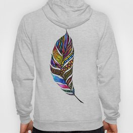 Colorful Watercolor Hand Drawn Tangle Feather Hoody