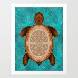 Snowflake turtle Art Print