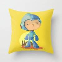 megaman Throw Pillows featuring Megaman by Rod Perich