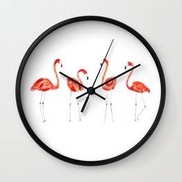 4 flamingos painting  Wall Clock