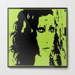 Girl Staring Green with Envy Metal Print