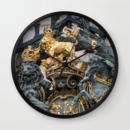 Detail of the Royal Coat of Arms on Buckingham Palace Gates London England Wall Clock