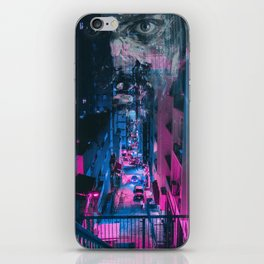 Pink face in the city iPhone Skin