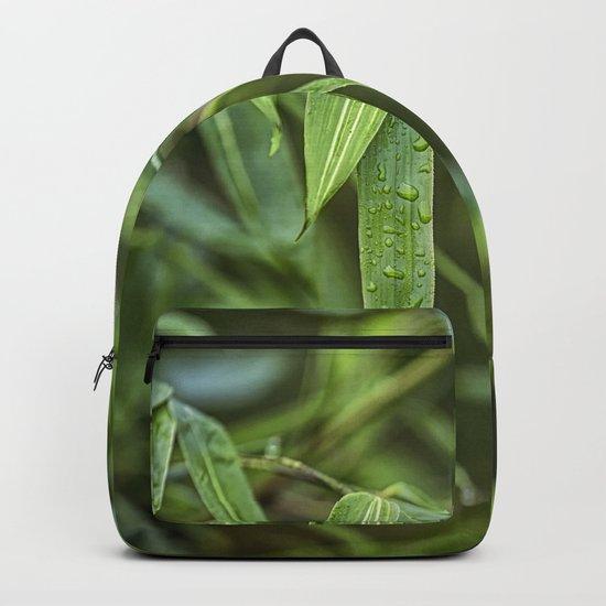 Lush Green Tropical Bamboo Leaf Backpack