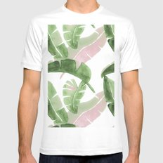 Tropical Leaves Green And Pink Mens Fitted Tee White MEDIUM