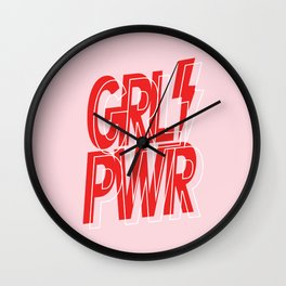 GRL PWR - GIRL POWER (Feminism typography design in red) Wall Clock