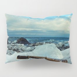 Spring Comes to the Beach in Ice that glows Blue Pillow Sham