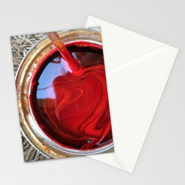Red Paint Can on Straw Stationery Cards