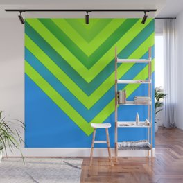 Sky & Lime Chevron Wall Mural