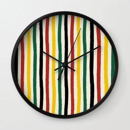Rustic Lodge Cabana Stripes Black Red Yellow Green Wall Clock