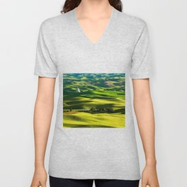 Rolling Hills & Fields of Wheat in Palouse ,Washington by Malcolm Carlaw Unisex V-Neck
