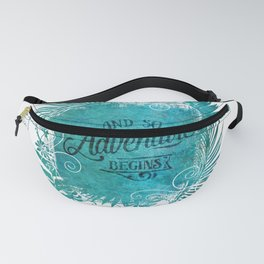 And So The Adventure Begins Motivational Typography Art Fanny Pack