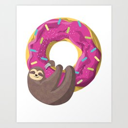Cute sloth hanging from the donut Art Print