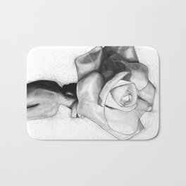 The woman with the head of a rose - Christy Turlington Bath Mat