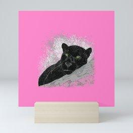 Black panther on a branch - Pink Mini Art Print