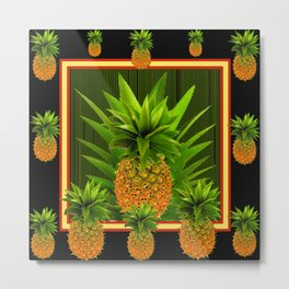 MODERN ART GREEN-BLACK  HAWAIIAN PINEAPPLE ART Metal Print