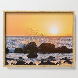 Glowing Sunset Behind Crashing Ocean Wave Serving Tray
