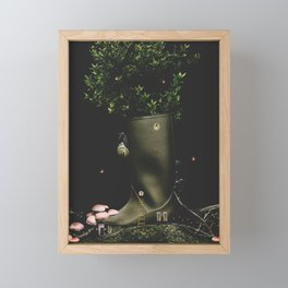 Living in my Boots - Digital Collage Framed Mini Art Print