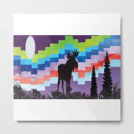Moose Night Walk Metal Print