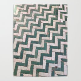 Moroccan floor tiles in green and white chevron Poster