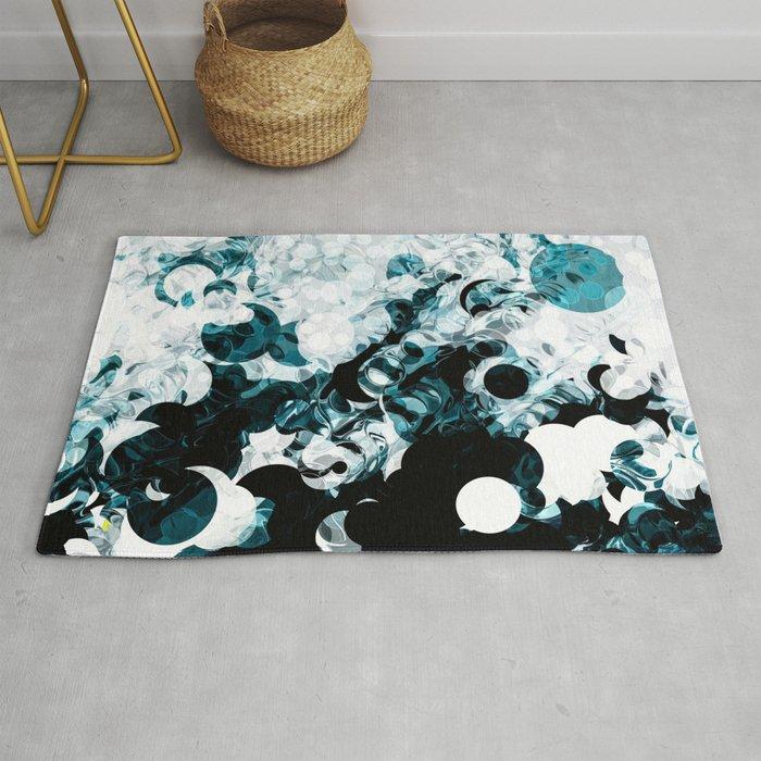 Modern Splash Of Turquoise Black White Design Rug By Artaddiction45