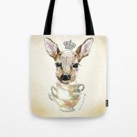 bambi Tote Bags featuring Bambi  by Iria do Castelo