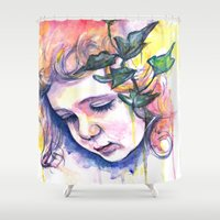 poison ivy Shower Curtains featuring Poison Ivy by Lauralouisa