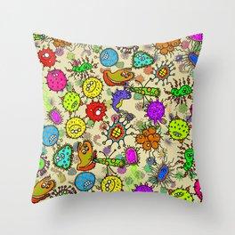 Doodle Germs Throw Pillow