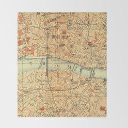 Vintage Map London South Bank Thames Throw Blanket