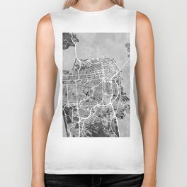San Francisco City Street Map Biker Tank