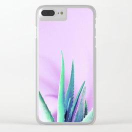 Aloe Vera Succulent with Pink Background Clear iPhone Case